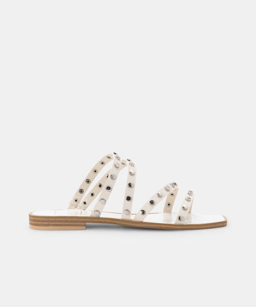 IZABEL WIDE STUDDED SANDALS OFF WHITE STELLA -   Dolce Vita