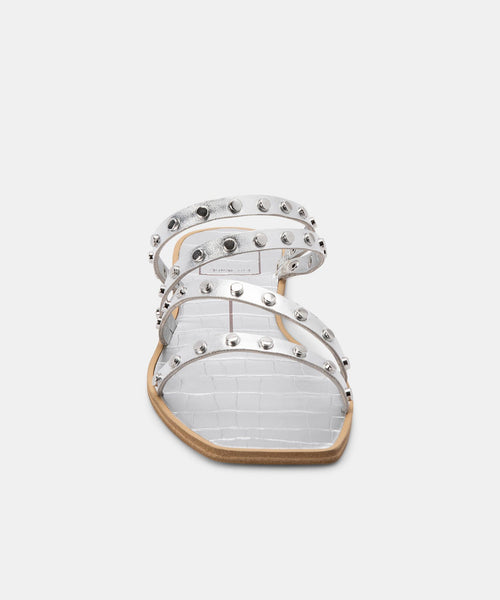 IZABEL WIDE STUDDED SANDALS SILVER METALLIC STELLA -   Dolce Vita
