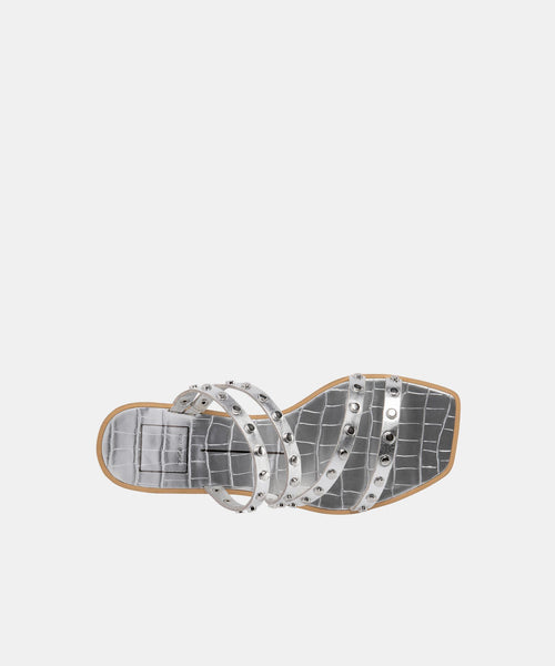 IZABEL WIDE STUDDED SANDALS SILVER METALLIC STELLA