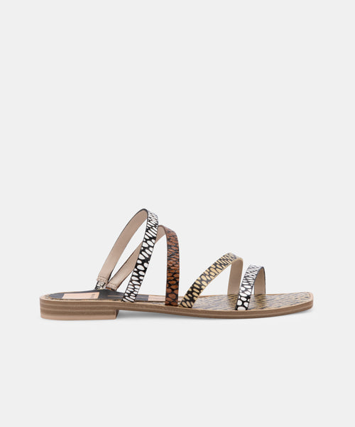 IZABEL SANDALS IN COGNAC MULTI COBRA SPOTTED STELLA -   Dolce Vita