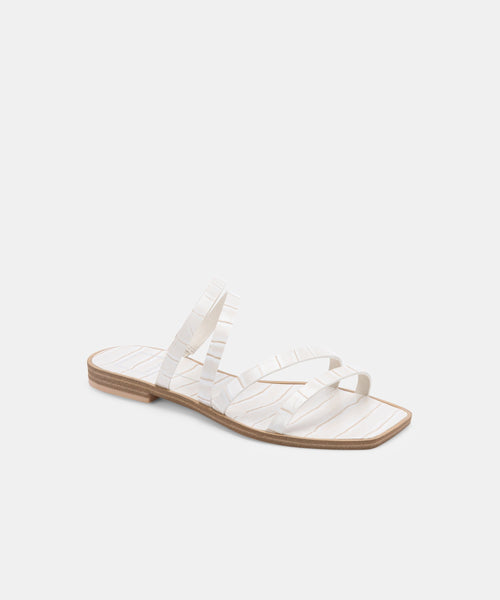 IZABEL WIDE SANDALS IN IVORY CROCO PRINT STELLA