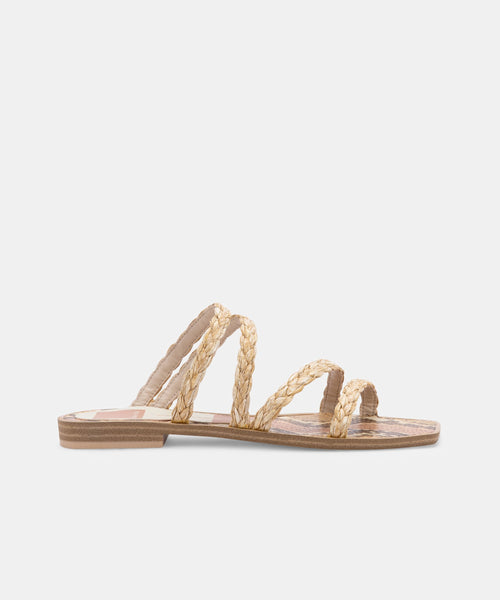 IZABEL WIDE SANDALS IN LT NATURAL RAFFIA