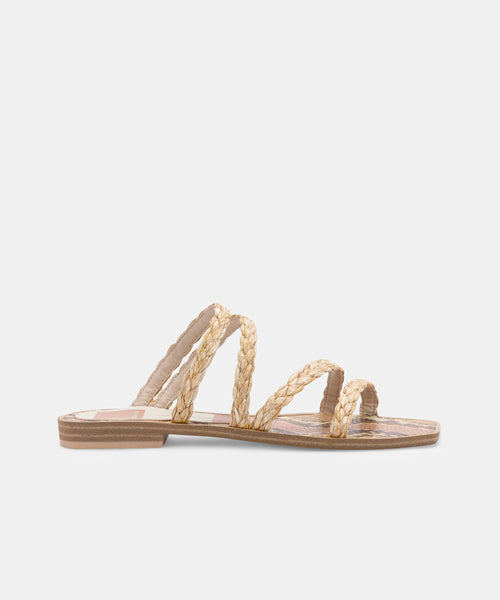 IZABEL SANDALS IN LT NATURAL RAFFIA -   Dolce Vita
