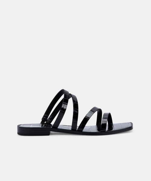 IZABEL WIDE SANDALS IN NOIR CROCO PRINT STELLA