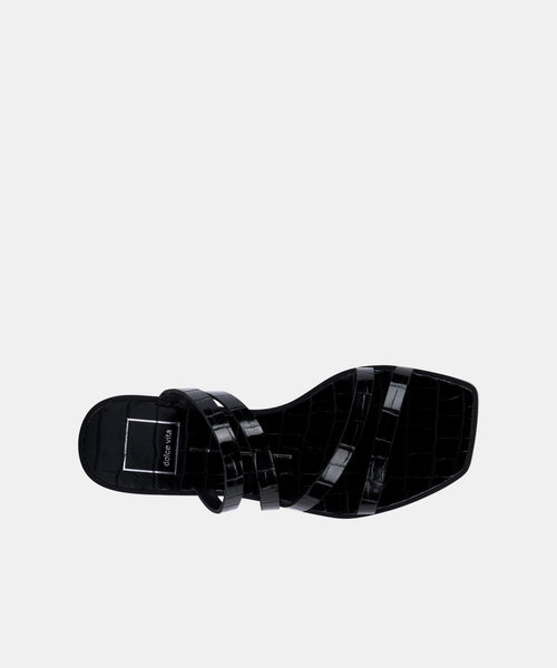 IZABEL SANDALS IN NOIR CROCO PRINT STELLA