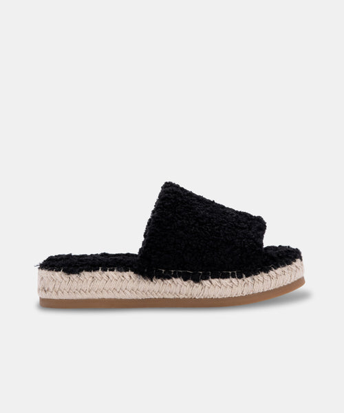 KARLEE SLIPPERS IN BLACK PLUSH -   Dolce Vita