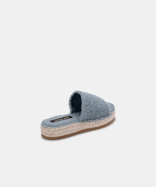 KARLEE SLIPPERS IN DUSTY BLUE PLUSH -   Dolce Vita