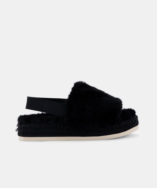 KEYA SLIPPERS IN BLACK FAUX FUR -   Dolce Vita