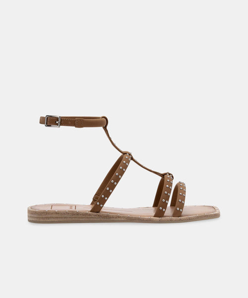 KOLE WIDE SANDALS BROWN STUDDED NUBUCK STELLA -   Dolce Vita