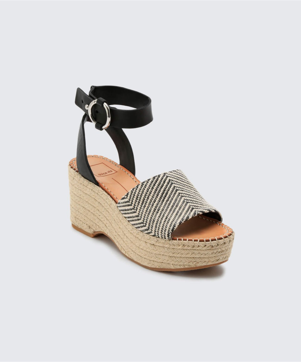 2d6f6cd456a LESLY WEDGES BLACK WHITE – Dolce Vita