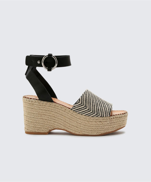 LESLY WEDGES IN BLACK/WHITE -   Dolce Vita