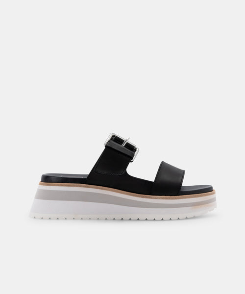 MACEN SANDALS BLACK LEATHER -   Dolce Vita