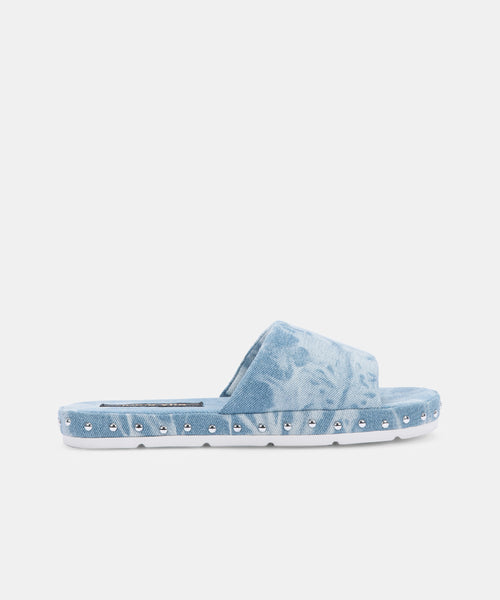 MOCHI SLIPPERS IN LIGHT BLUE TIE-DYE DENIM -   Dolce Vita
