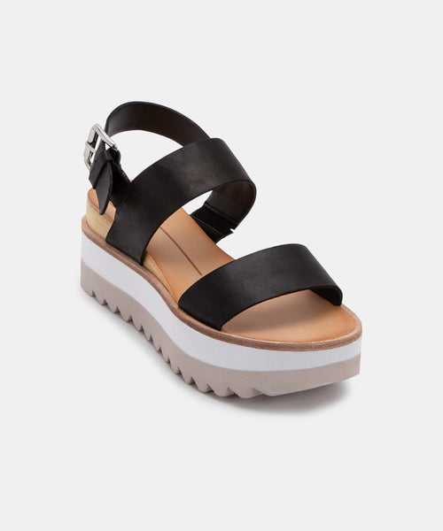 MOXIE SANDALS IN BLACK LEATHER -   Dolce Vita