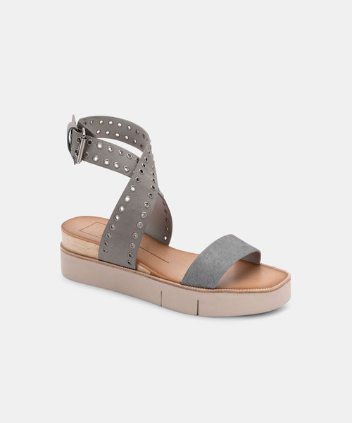 PANKO STUD SANDALS IN GREY CALF HAIR -   Dolce Vita