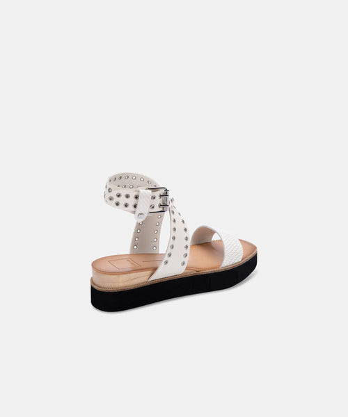 PANKO STUD SANDALS IN WHITE EMBOSSED LEATHER -   Dolce Vita