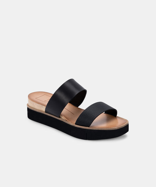 PARNI SANDALS IN BLACK EMBOSSED LEATHER -   Dolce Vita
