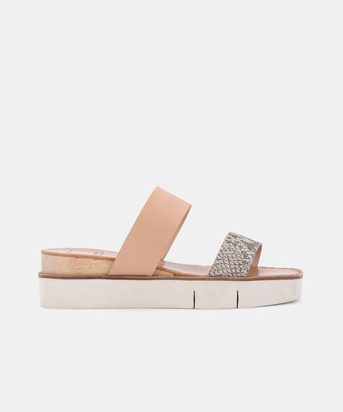 PARNI SANDALS IN STONE EMBOSSED LEATHER -   Dolce Vita