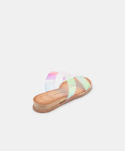 PAYCE WIDE SANDALS IN SILVER IRIDESCENT VINYL -   Dolce Vita