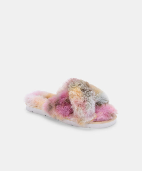 PILLAR SLIPPERS CITRON MULTI TIE DYE FAUX FUR -   Dolce Vita
