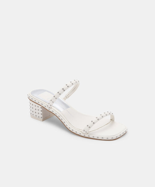 RIYA STUDDED SANDALS IN OFF WHITE LEATHER -   Dolce Vita