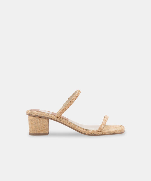 RIYA WIDE SANDALS IN LT NATURAL RAFFIA