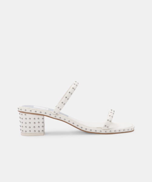 RIYA STUDDED WIDE SANDALS OFF WHITE LEATHER -   Dolce Vita