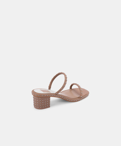 RIYA STUDDED WIDE SANDALS CAFE LEATHER -   Dolce Vita