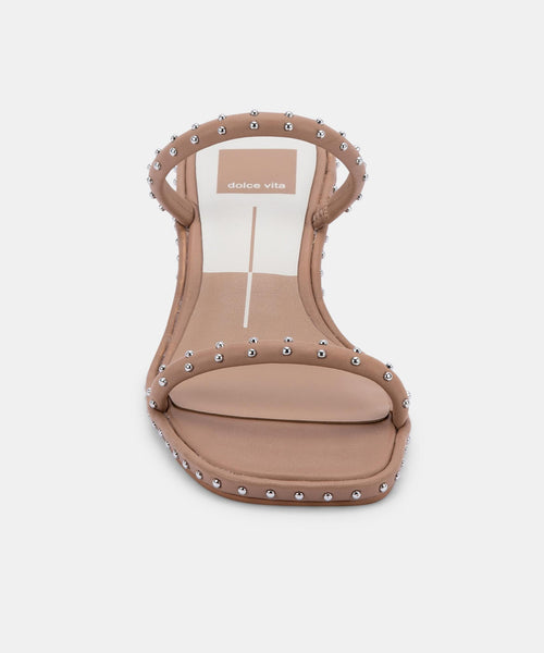 RIYA STUDDED SANDALS IN CAFE LEATHER -   Dolce Vita