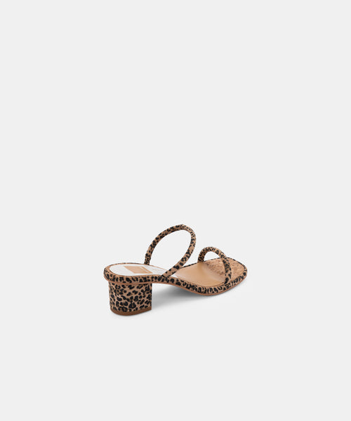 RIYA SANDALS IN TAN-BLACK DUSTED LEOPARD SUEDE -   Dolce Vita