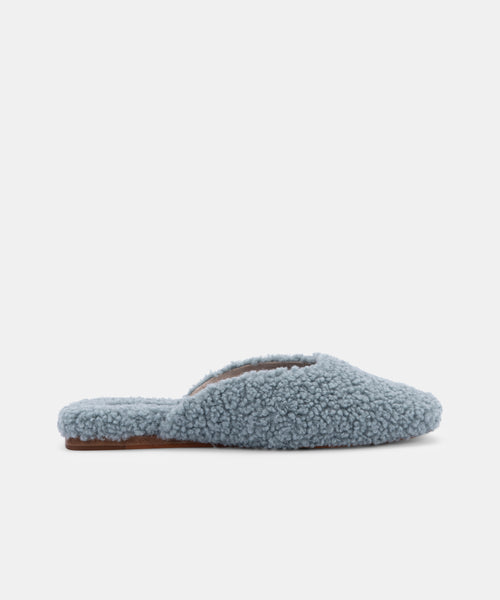 SAYDEE SLIPPERS IN DUSTY BLUE PLUSH -   Dolce Vita