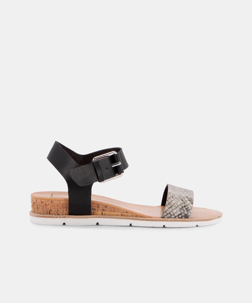 VADA SANDALS IN BLACK/SNAKE -   Dolce Vita