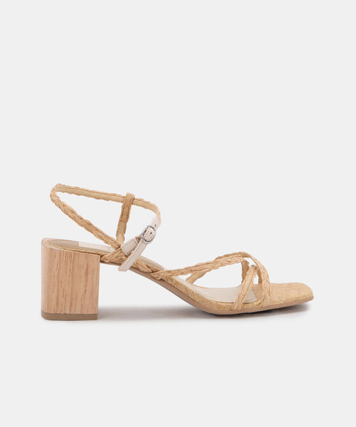 ZAYLA HEELS IN LT NATURAL RAFFIA