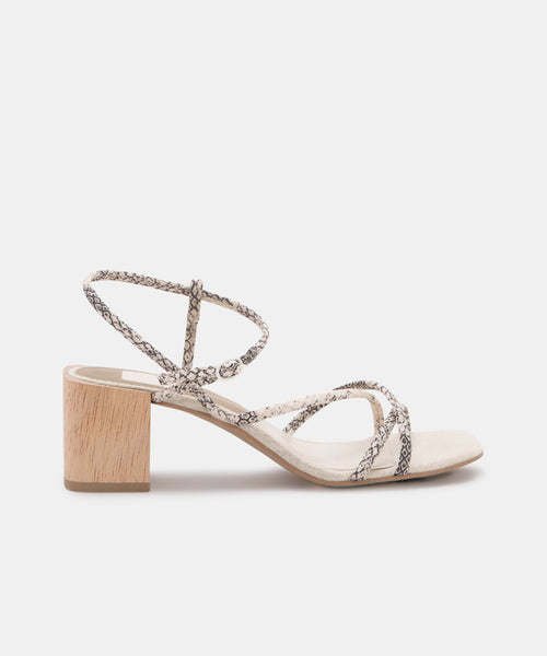 ZAYLA HEELS IN STONE SNAKE PRINT LEATHER