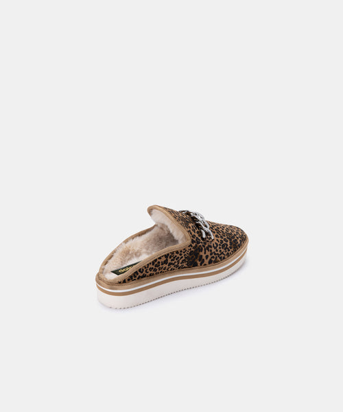 HAIDEN SLIPPERS IN TAN/BLACK DUSTED LEOPARD SUEDE -   Dolce Vita