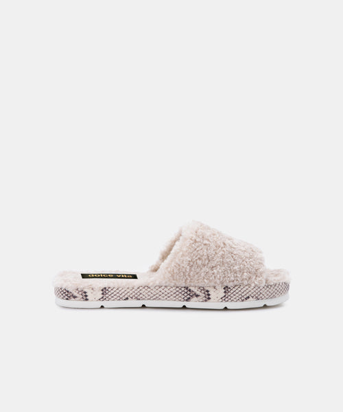 MOCHI SLIPPERS IN OFF WHITE PLUSH -   Dolce Vita