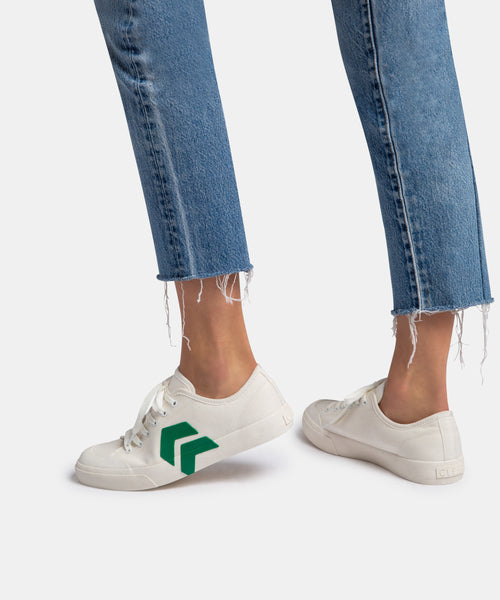 BRYTON SNEAKERS IN WHITE/GREEN CANVAS -   Dolce Vita