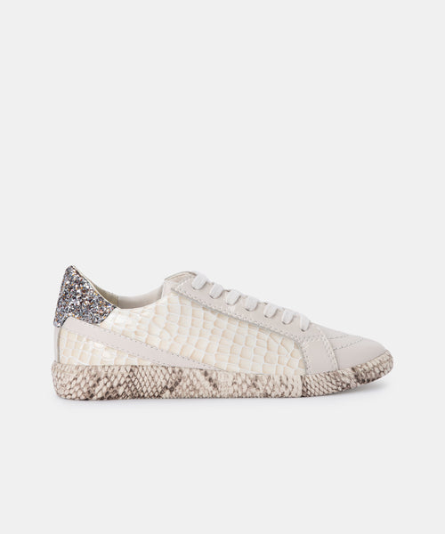 NINO SNEAKERS IN EGGSHELL PATENT CROCO LEATHER -   Dolce Vita