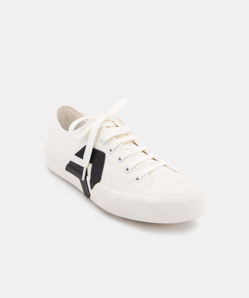 BRYTON SNEAKERS IN WHITE/BLACK CANVAS -   Dolce Vita