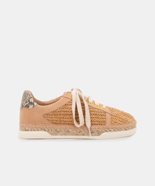 MADOX WIDE SNEAKERS IN NATURAL RAFFIA -   Dolce Vita