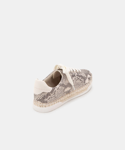 MADOX WIDE SNEAKERS STONE SNAKE PRINT LEATHER -   Dolce Vita