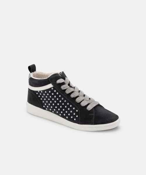 NIKKO SNEAKERS IN ANTHRACITE STUDDED SUEDE -   Dolce Vita