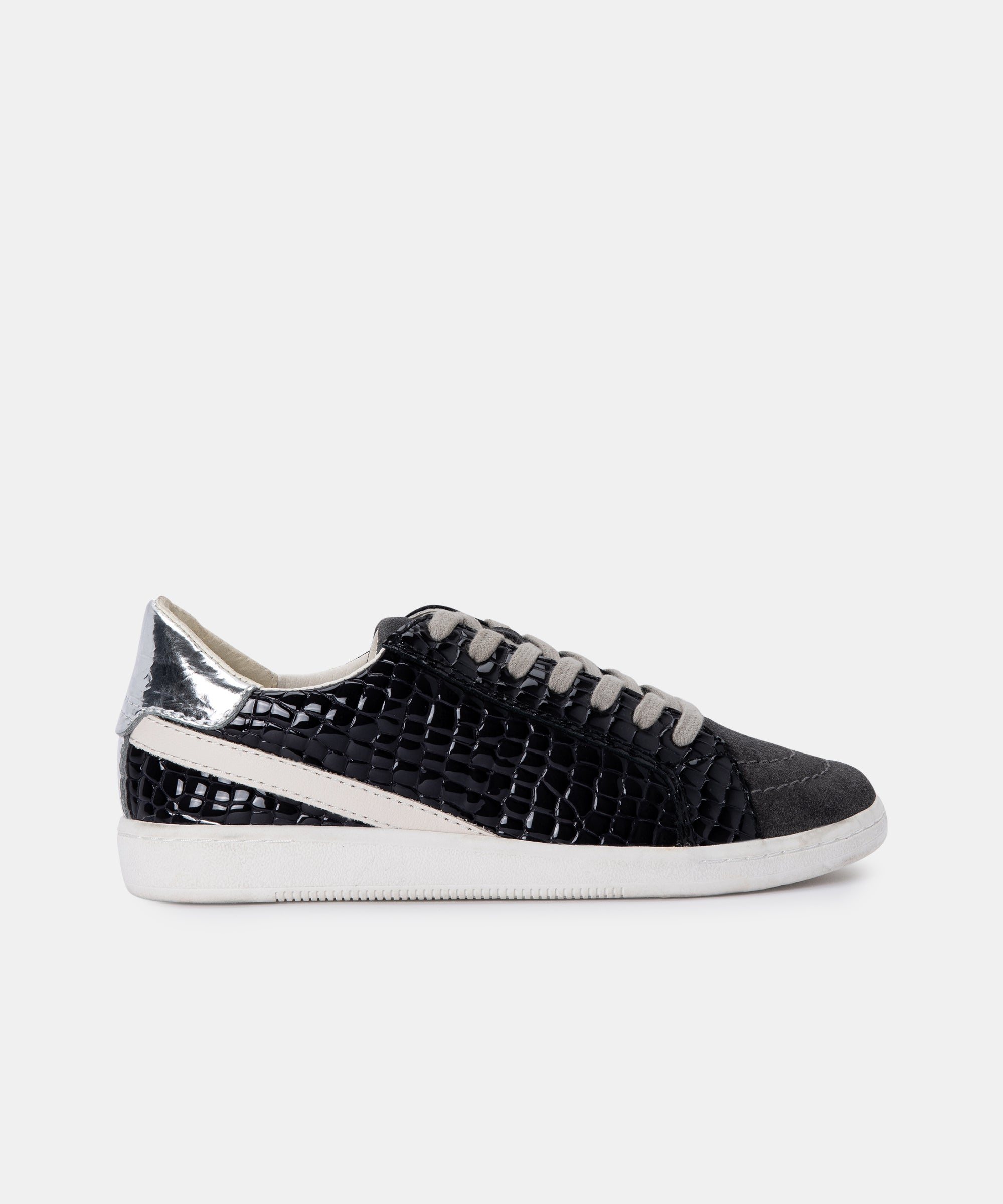 NINO SNEAKERS IN ANTHRACITE PATENT CROCO LEATHER