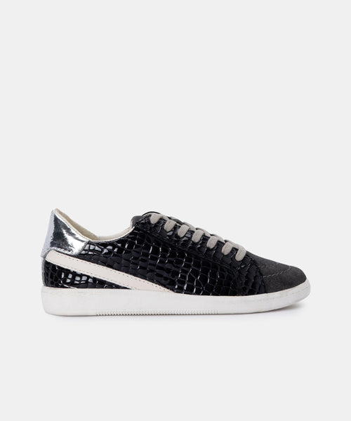 NINO SNEAKERS IN ANTHRACITE PATENT CROCO LEATHER -   Dolce Vita