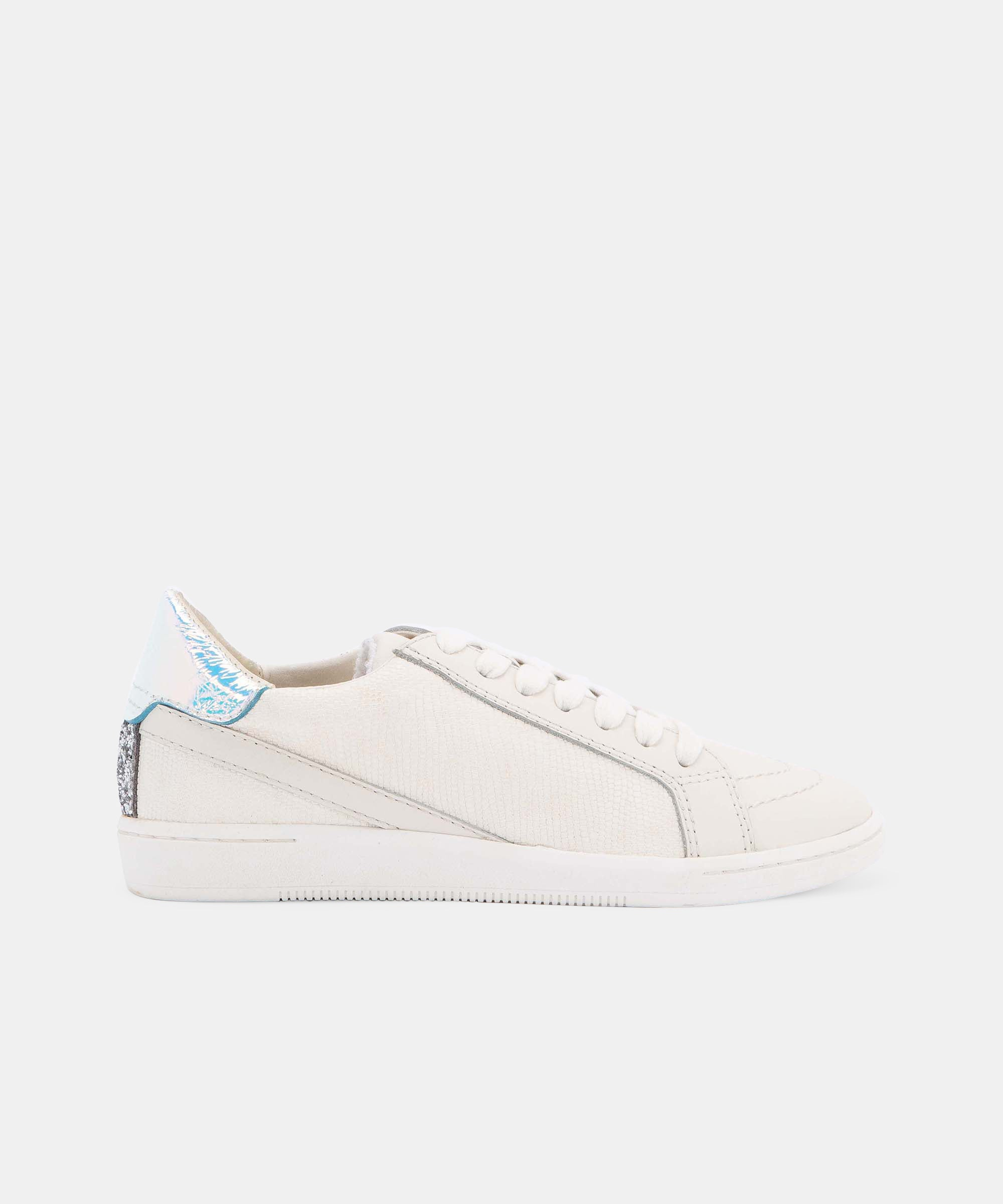 NINO SNEAKERS IN WHITE MULTI EMBOSSED LIZARD
