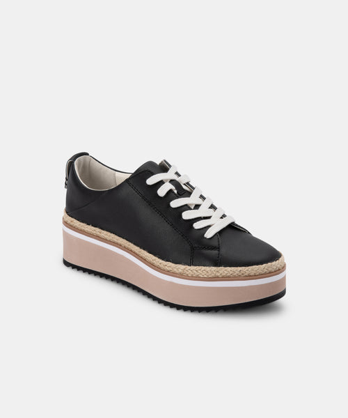 TINLEY SNEAKERS IN BLACK LEATHER -   Dolce Vita