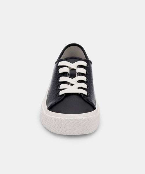 VALOR SNEAKERS IN BLACK EMBOSSED LEATHER -   Dolce Vita