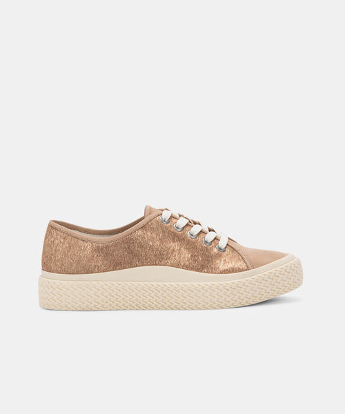 VALOR SNEAKERS IN BRONZE METALLIC CALF HAIR -   Dolce Vita