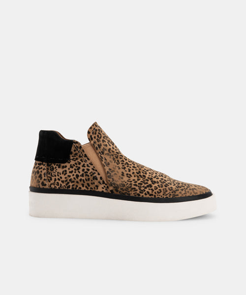 VINNI SNEAKERS IN TAN-BLACK DUSTED LEOPARD SUEDE -   Dolce Vita