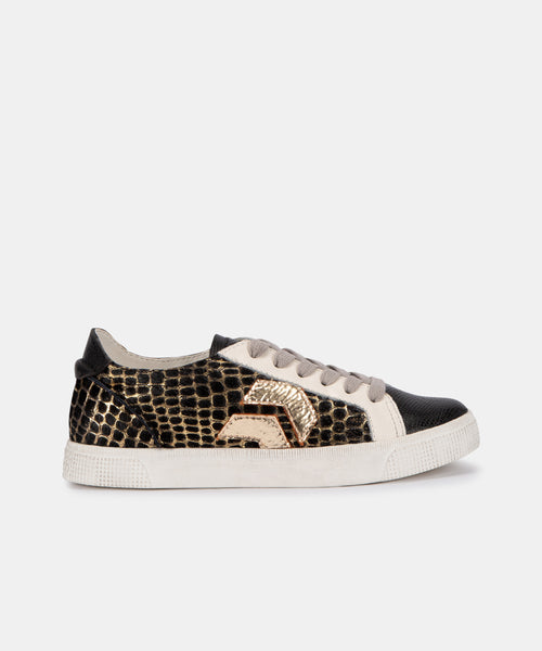 ZAGA SNEAKERS IN BLACK/GOLD CALF HAIR -   Dolce Vita